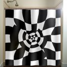 geometric black white checkerboard checker shower curtain  bathroom