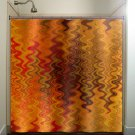 fire tapestry flame orange brown chevron shower curtain  bathroom   ki