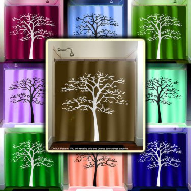 white tree brown shower curtain  bathroom     window curtains