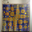 cities of gold blue yellow brown shower curtain  bathroom