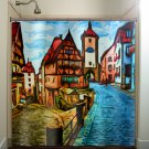 old europe downtown cobblestone street shower curtain  bathroom   kids