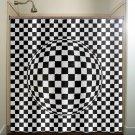 zen optical illusion geometric checkered shower curtain  bathroom   ki