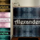 personalize name custom vintage damask kid shower curtain  bathroom