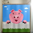 picket fence pig shower curtain  bathroom     window curtains