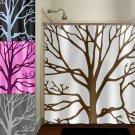 brown tree branches shower curtain  bathroom     window curtai