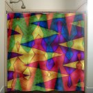 colorful carnival circus rainbow chevron shower curtain  bathroom   ki