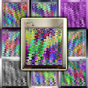 colorful mosaic multicolor rainbow shower curtain  bathroom   kids bat