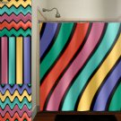 Multi Color Wave Stripe Chevron Shower Curtain  bathroom     w