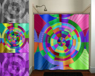 time travel color clock wheel kaleidoscope shower curtain  bathroom