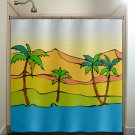 desert oasis beach art palm trees shower curtain  bathroom