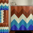 blue chocolate cake brown chevron shower curtain  bathroom