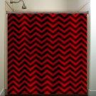 classic black red chevron shower curtain  bathroom     window