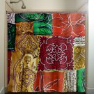 ancient persian art red orange green gold shower curtain  bathroom   k