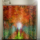 lovers lane couple autumn color birch tree shower curtain  bathroom