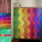 rainbow wood grain multi color chevron shower curtain  bathroom   kids
