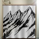 ski slope fir tree range snow mountain shower curtain  bathroom   kids