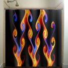 orange red blue fire ball fireball chevron shower curtain  bathroom