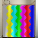 tv signal test bar television chevron shower curtain  bathroom   kids