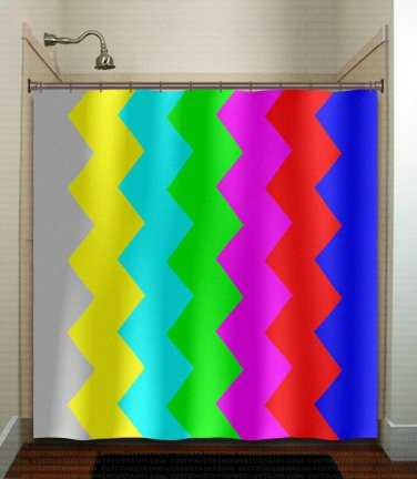 tv signal test bar television chevron shower curtain  bathroom   kids