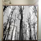 woodland forest grove winter trees shower curtain  bathroom   kids bat