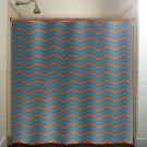 deep turquoise blue orange chevron shower curtain  bathroom   kids bat