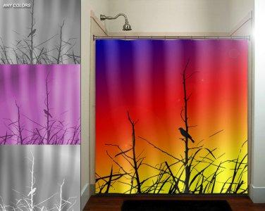 grass branch rainbow sunset bird shower curtain  bathroom