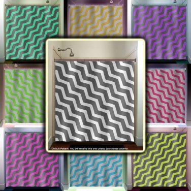 zigzag diagonal gray chevron shower curtain  bathroom     wind