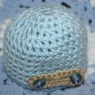 Blue Beanie with Button
