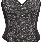 Black Denim with Sparkle Embossing Fabric Steel Boning Overbust Corset Bustier (Body Waist-32inch)
