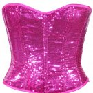 Pink Sequin Fabric Steel Boning Overbust Fashion Corset Waist Cincher (Body Waist-24inch)