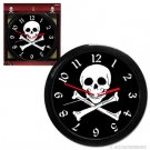 Skull and Cross Bones Black and White Pirate Clock