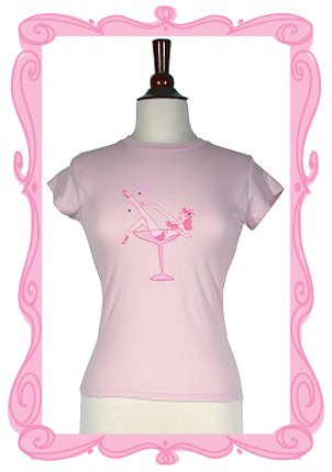 Pin Up Beauty in Champagne Glass with Rhinestones, Tee Shirt, Size Medium