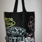Retro Neon Las Vegas Signs on Black Canvas Tote Bag