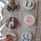 "Three Vintage Dog Pictures and ""D"", ""O"", ""G"" Magnet Set"