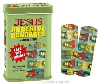 Jesus Print Bandaids, Collectible Tin, Free Toy Inside