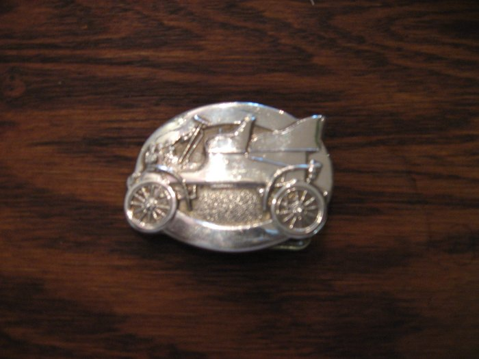 Small Vintage Silver Ford Car Belt Buckle