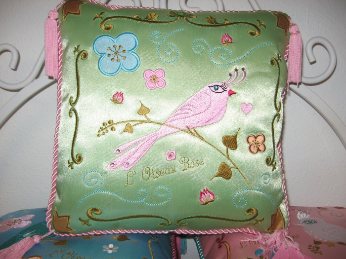 Beautiful Green Silk Embroidered Bird Pillow