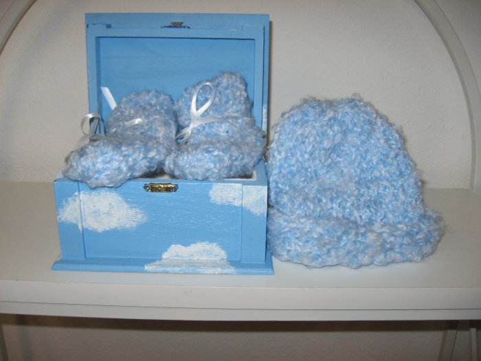 Light Blue Knit Baby Hat and Booty Set in Painted Cloud Box