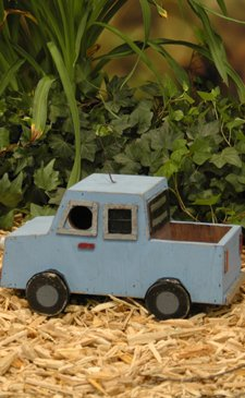 Blue Truck Birdhouse Made Out of Recycled Materials