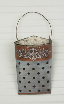 Recycled Metal, Polka Dot Design, Hanging Flower Pocket