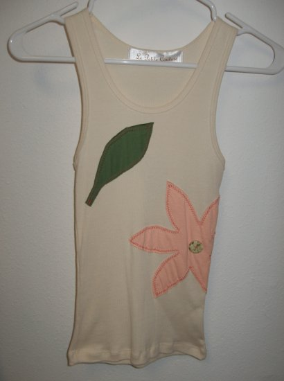 Cream Tank Top with Hand Stitched Flower, Size Small