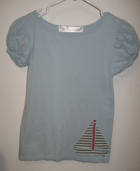 Blue Short Sleeve Top with Hand Stitched Sail Boat, Size Small