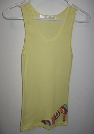 Yellow Tank Top with Hand Stitched High Heel on Front and Back, Size Small/Medium