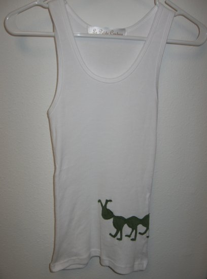 White Tank Top with Hand Stitched Caterpillar, Size Small