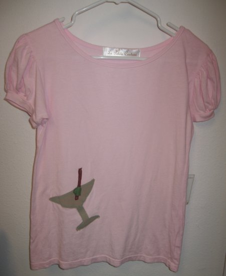 Pink Short Sleeve Top with Hand Stitched Martini, Size Medium