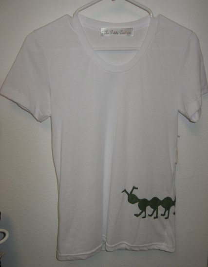 White Short Sleeve Top with Hand Stitched Caterpillar, Size Medium