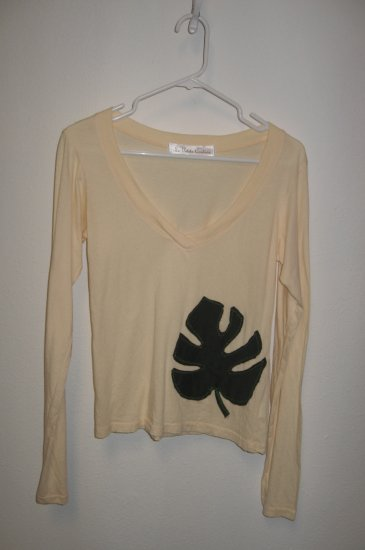 Cream Long Sleeve V-Neck with Hand Stitched Leaf, Size Medium