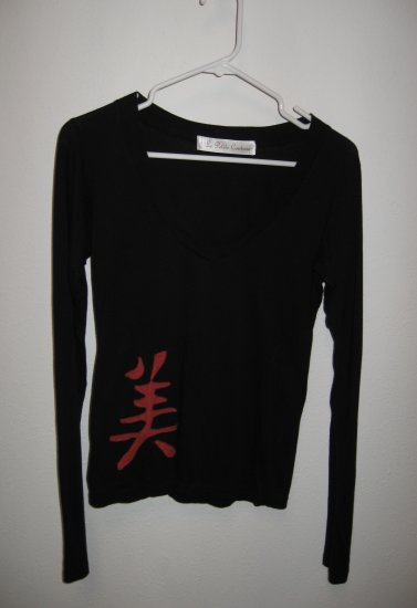 "Black Long Sleeve V-Neck with Hand Stitched Chinese ""Beauty"" Symbol, Size Small/Medium"