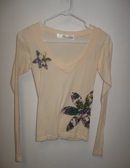 Cream Long Sleeve V-Neck Top with Hand Stitched Flowers, Size Small