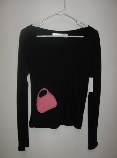 Black Long Sleeve V-Neck Top, Hand Stitched Purse on Front High Heel on Back, Medium/Large